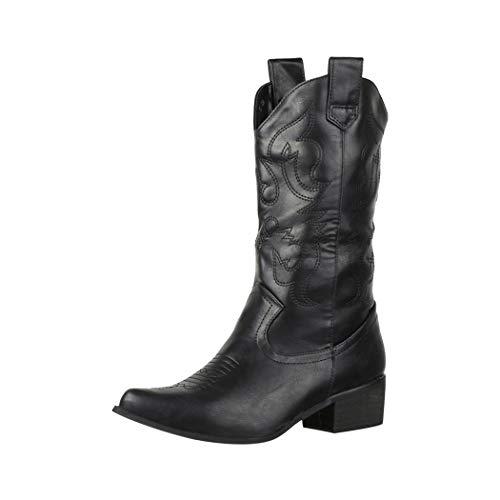 Elara Damen Cowboystiefel Chunkyrayan 888 Black-36