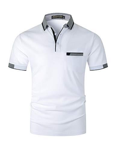 GHYUGR Elegante Polo da Uomo Manica Corta T Shirt Cotone Cucitura Classica Maglietta Commerciale Camicia per L'Ufficio,Bianco,M