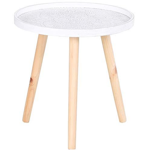 HOMCOM Beistelltisch mit hoher Kante, Kaffeetisch mit schönem Muster, Nachttisch, Massivholz, MDF, Weiß, Ø40 x 40,5 cm