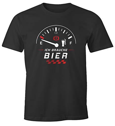 MoonWorks® Herren T-Shirt Ich Brauche Bier! lustiges Trink Shirt Saufen Bier Party anthrazit XL