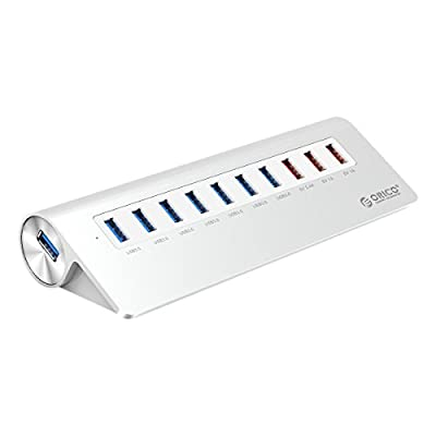 Aluminium Powered 7-Port USB 3.0 Hub for Windows, Mac, and Linux PC with 3 USB Charging Ports (2.4A/1A/1A) for Smartphones and Tablets including iPhone, iPad, Samsung, etc, by Orico