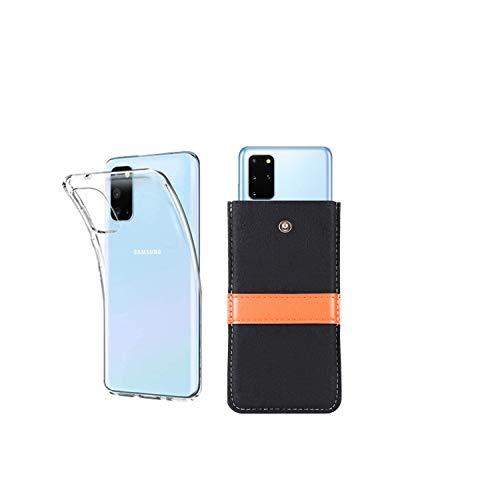 Handyhülle Samsung S20 FE 5G filztasche Handysocke Hülle aus Filz,mit ZUSÄTZLICHER Transparent Dünn silikon Hülle/Schale/Bumper,Herauszieh Lederband und Drucknopf (Samsung Galaxy S20 FE 5G, schwarz)
