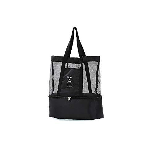 Zehua Double-layer Lunch Bag Household Unisex Travel Double-layer Insulation Picnic Bag One-shoulder Sports Mesh Storage Bag Lunch Preservation Bag (Black)