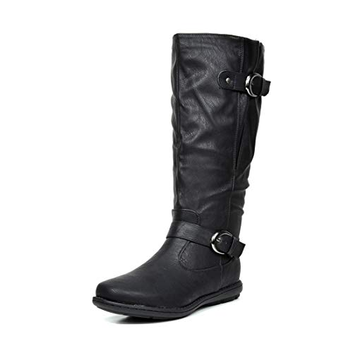 DREAM PAIRS Women's Summit Black Faux Fur-Lined Knee High Winter Boots Wide Calf Size 10 M US