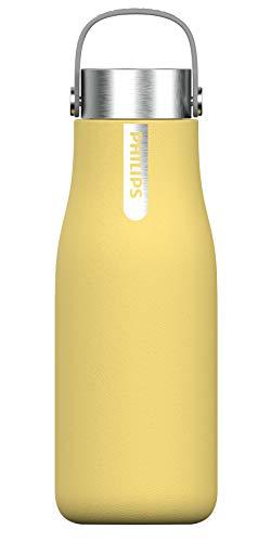 Phillips Go Zero Smart Bottle - Botella de agua UVC-LED Autolimpiable, Acero Inoxidable, Libre de BPA, 590 ml, Amarilo Pastel (AWP2788YL)