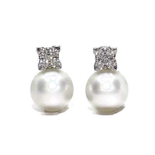 Gorgeous 18k white gold earrings with 0.58ct diamonds and 12mm Australian pearls omega closure.