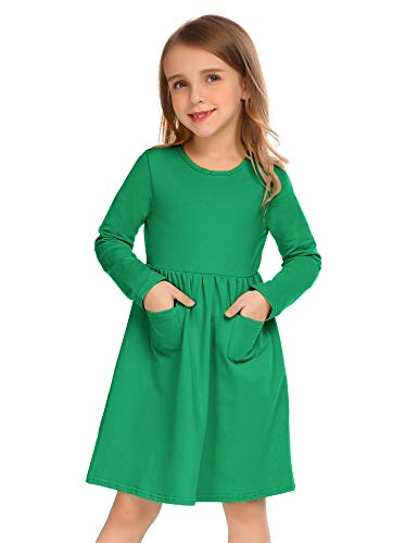 Trudge Kleid Mädchen Langarm Baumwolle Langarmkleid A-Linie Swing Prinzessin Freizeit Kleid Kleinkind, Grün, Gr.- 6-7 Jahre/ 120