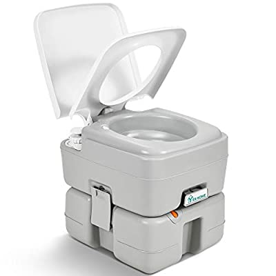 YITAHOME Portable Toilet 3.96 Gallon,Travel RV Potty with T-Type Water Outlets,Anti-Leak Handle Water Pump,Rotating Spout,for Camping, Boating,Hiking,Trips
