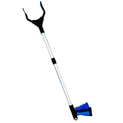 Camisin 32 Inch Extra Long Grabber Reacher with Rotating Jaw - Mobility Aid Reaching Assist Tool (Blue)