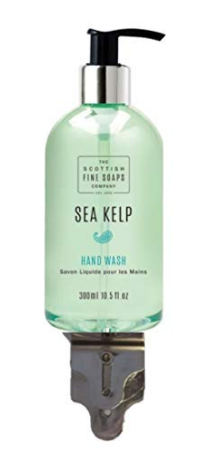 Dispensador simple de cromo montado en la pared con 300 ml de jabón líquido para manos Scottish Fine Soap Sea Kelp