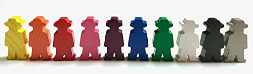 Spielfiguren für Brettspiele: Personen / Menschen mit Hut / Cowboy / Bauer / Arbeiter 15x30x8 mm. Spielmaterial, 10 Farben (10 x 1 Figur)