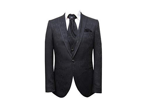 MMUGA Ausgefallene Hochzeitsanzug Herren Brokat 5 teilig Schwarz 64