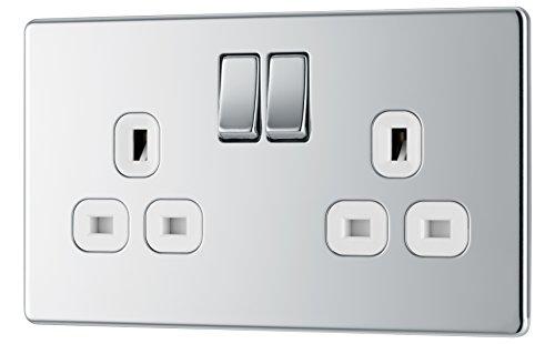 BG elektrisch stopcontact met dubbele schakelaar, schroevenloos, plat, gepolijst chroom met witte inzetstukken, 13 amp
