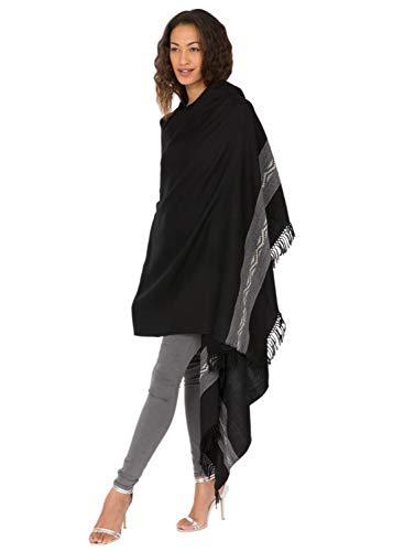 likemary Damen Schal Schultertuch aus 100% Merino Wolle - Poncho Stola XXL Tuch & Umschlagtuch - für Frauen - Himalaya 100 x 200 cm Schwarz