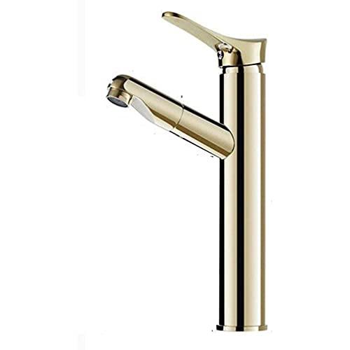 Grifo de baño de latón Grifo de baño extensible dorado con alcachofa extraíble, grifo mezclador monomando para lavabo