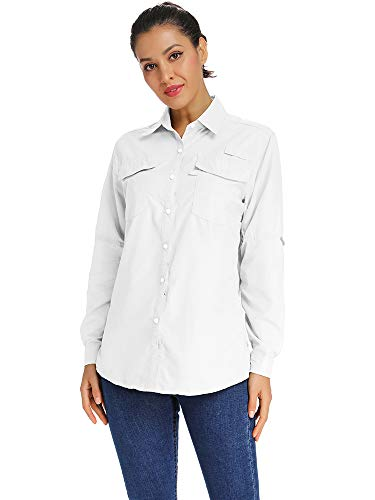 Women's UPF 50+ Sun Protection Long Sleeve Lightweight Outdoor Fishing Hiking Shirts White Tag XL