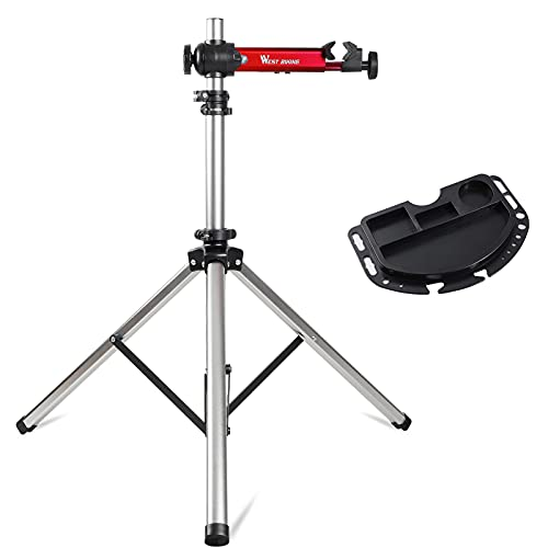 CYCLESPEED Bike Repair Stand Quick Release (Max 85 lbs), Home Mechanic Bicycle Mechanics Workstand Adjustable Portable Extensible Tripod Bike Maintenance Rack for Road Mountain Bikes (Black-Red)