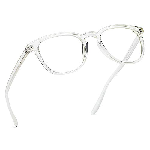 Blaues Licht Blockieren Gläser, Mloz Blaulicht Filter Computer-Brille, Anti Eyestrain Vintage Runde Rahmen Brillen für Frauen Männer (Runde Transparent)