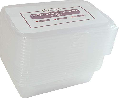 EVERYDAY GOODS - 1000ml -  Food storage containers - Plastic container with lids - Microwave, Freezer & Dishwasher Safe - Ideal for meal prep & takeaway - 10 pack
