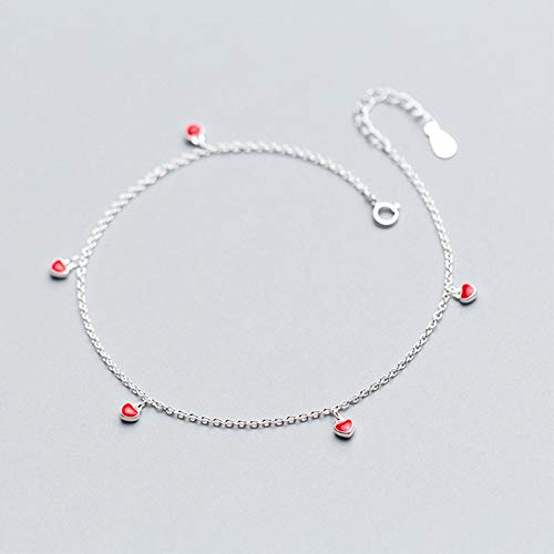 DGFGCS Ladies silver bracelet 925 Sterling Silver Foot Anklets For Women Barefoot Sandals Small Red Heart Chain Ankle Bracelet Girls Lady Leg Jewelry