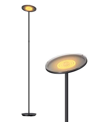 Gladle Stehlampe LED Deckenfluter Dimmbar, Stehleuchte für Wohnzimmer Schlafzimmer Büro, kompatibel mit Smart-Plug, 3000K (Schwarz)