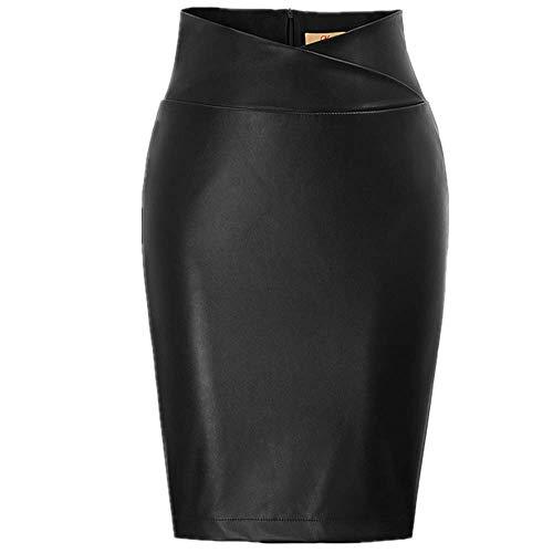 N\P Faldas de las mujeres de cuero sintético Wrap cintura espalda Split Faldas Caderas Envuelto Longitud de la rodilla Falda lápiz