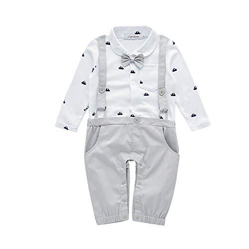 Snakell Baby Junge Smoking Neugeborenen Strampler Baby Outfits Langarm Strampler Jungen Smoking Baby Baumwolle Gentleman Outfit Bowknot Weihnachts/Taufstrampler Kleidung