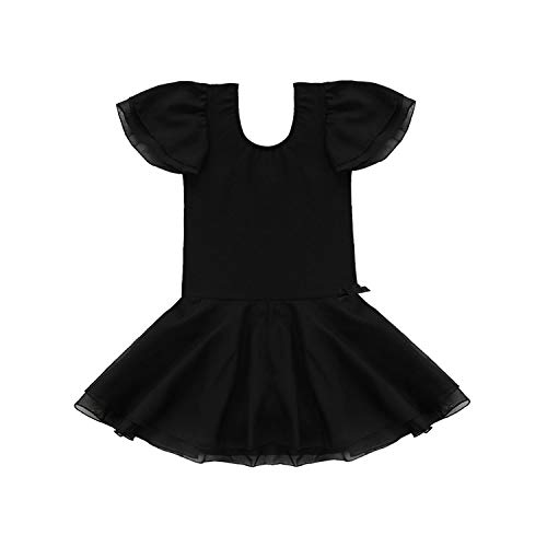 Hopereo Ballettkleid Kostüm Kleinkind Gymnastik Trikot Ballerina Ballettröckchen Ballett Tanzkleid Trikots Für Mädchen Dancewear Schwarz L