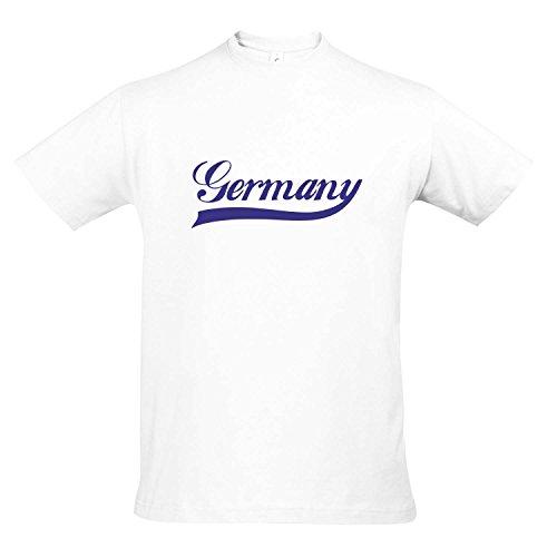 T-Shirt Deutschland Oldschool Germany LÄNDERSHIRT EM / WM FAN Trikot S-XXL , White - blau , XL