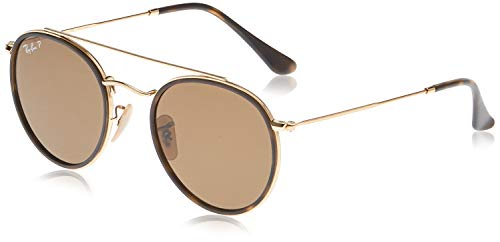 Ray-Ban Junior Unisex-Erwachsene Round Double Bridge Brillengestelle, Gold (Gold/Polarbrown), 51