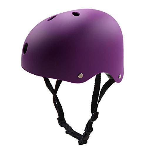 QZPDP Kinder Skateboarder Helm Fahrradhelm Integralhelm Rollerhelm für Radfahrer Skateboard Scooter Bike Sicherheit Helm,Einstellbarer Kopfumfang,Geeignet für Kinder und Erwachsene,Lila,54~57cm