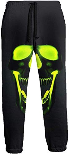 Fluorescent Skull Herren Jogginghose mit Taschen Tunnelzug Elastische Taille Athletic Pants für Jogging Workout Gym Running Training XL