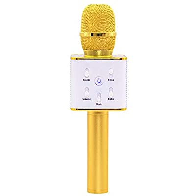 Funky Rico Wireless Bluetooth Karaoke Microphone System with Speaker and Power bank Phone Charger |Portable Handheld for Party Christmas Birthday | Android/iPhone/PC or All Smartphones