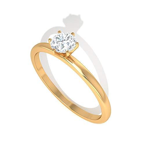 0,7 Karat Diamant IGI zertifizierter Verlobungsring, HI-SI Farbe Klarheit Diamant Brautring, Solitär Arbeitskleidung Partywear Ring, Gold Hochzeit Versprechen Ring, 14K Gelbes Gold, Size:EU 56