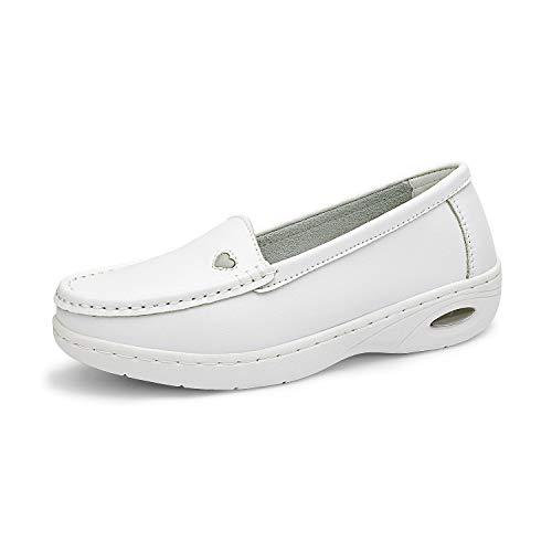 DREAM PAIRS Women's White Nursing Work Restaurant Lightweight Slip On Shoes Size 10M US Metro-1