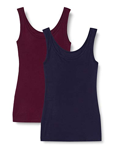 Marca Amazon - IRIS & LILLY Camiseta Interior Térmica Ligera de Tirantes para Mujer, Pack de 2, Multicolor (Potent Purple/navy), XS, Label: XS
