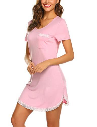 MAXMODA Damen Schlafshirt Kurzarm Nachthemd Damen Sexy Sleepshirt Nachtkleid Kurz, Rosa, XL