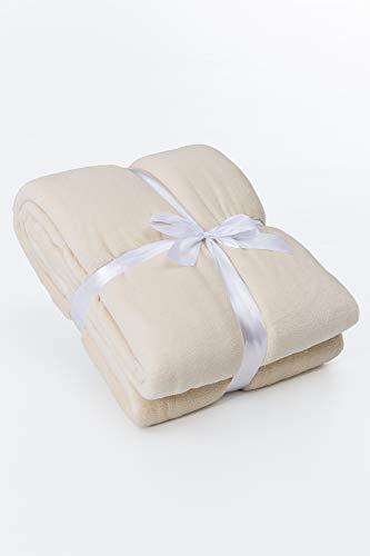 myHomery Kuscheldecke fürs Sofa aus Coral Fleece - Decke - Wolldecke warm & kuschelig - Sofadecke XL - Wohndecke gemülich - Creme | 220 x 240 cm