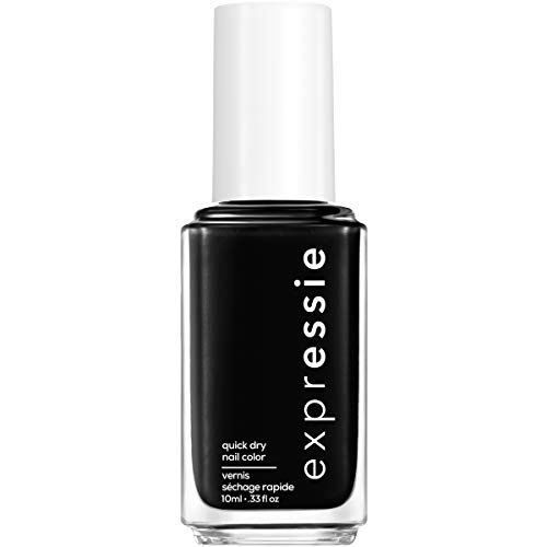 essie expressie Quick-Dry Vegan Nail Polish, Now Or Never, Black, 0.33 Ounce