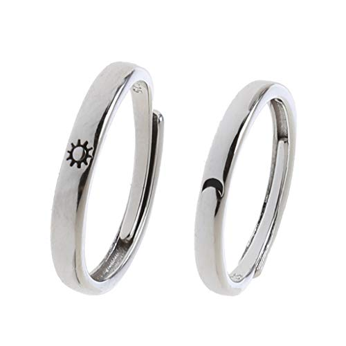 ZJL220 2Pcs Sun and Moon Lovers Couples Matching Rings Set Promise Wedding Bands Kit Adjustable for Him and Her Fashion Jewerly