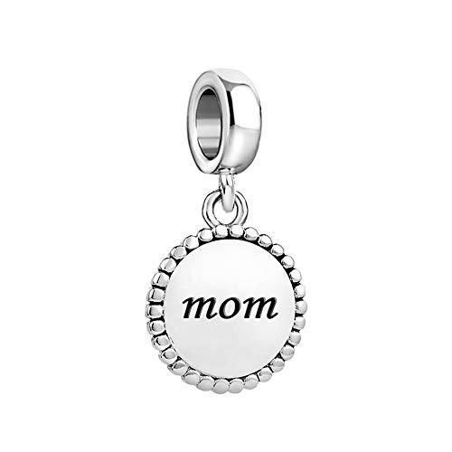 MiniJewelry Mom Women Dangle Plate Charm for Bracelets fits Pandora Bracelets Mothers Day Birthday