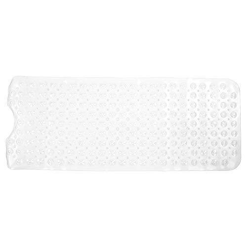 Ymiko 39,8 x 15,9 Zoll rutschfeste PVC-Badewanne Duschmatte Badezimmer Bodenmatte mit Saugnapf für den Heimgebrauch, maschinenwaschbare Badezimmermatten mit Ablauflöchern(Transparent)
