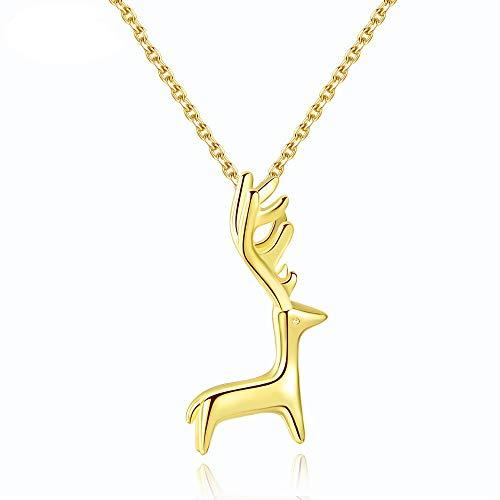 LIUSHUGUANG Collana di Ciondolo di Forma di Birra Fantasia in Argento Sterling 925 Genuino per Donne/Ragazza Moda fine gioielleria in Oro Colore,Gold