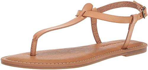 Amazon Essentials – Sandalia de dedo informal con correa de tobillo para mujer , Beige (natural), 40