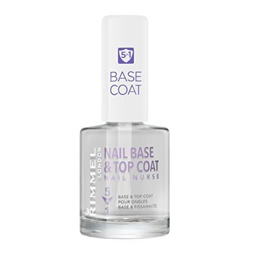 Rimmel London Nail Base e Top Coat Trasparente 5 in 1 per Smalto Unghie, Rinforzante, Levigante, Fissante, Protettivo, Pro-Crescita, 12 ml