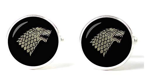 Gemelolandia | Gemelos Magglass Juego de tronos casa Stark Gemelos Originales Para Camisas | Para Hombres y Niños | Regalos Para Bodas, Comuniones, Bautizos y Otros Eventos