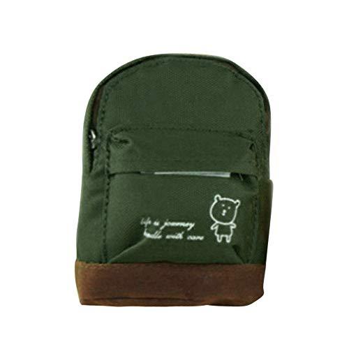 Preisvergleich Produktbild Lukame Mini Schlüsseltasche Etui Leinwand Floral Rucksack Geldbörse Schlüsseletui Münztüte Frauen Mädchen Kinder 8X10cm(Armeegrün)