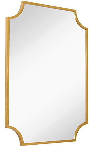 Hamilton Hills Gold Metal Framed Wall Mirror Scalloped Shape Mirror 30