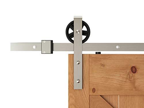 DIYHD TSQ15SN 5.5FT Brushed Nickel Industrial Spoke Wheel Steel Sliding Barn Door Hardware