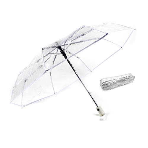 Montagsliebe® Taschenschirm transparent, inkl. Hülle, Automatik, Regenschirm durchsichtig, Hochzeit, faltbar, klein, Ø96 cm